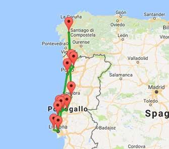 mappa tour del portogallo e santiago
