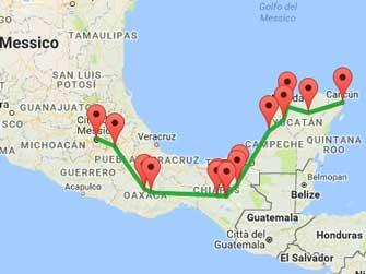 Gran tour del messico 12 giorni con guida italiana - Mappa messico mappa da colorare pagina ...