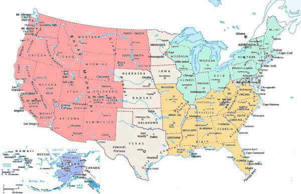 tour organizzati Stati Uniti-mappa