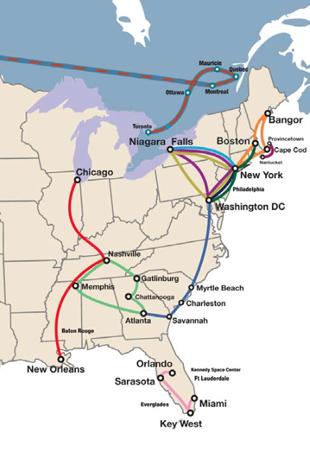 Cartina Costa Est Usa.Stati Uniti Tour Est Insiemeintour