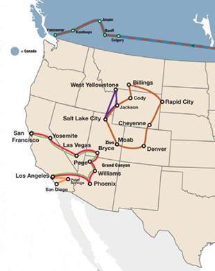 Parchi Usa Cartina.Tour Organizzati Stati Uniti Ovest E Parchi Nazionali Con Guida Insiemeintour