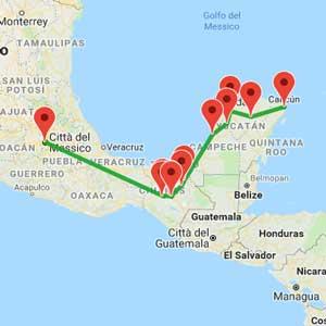 mappa tour messico essenziale