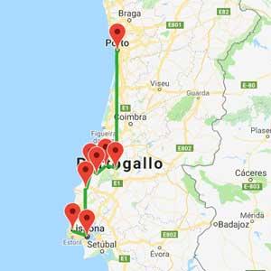 mappa tour portogallo da lisbona a porto