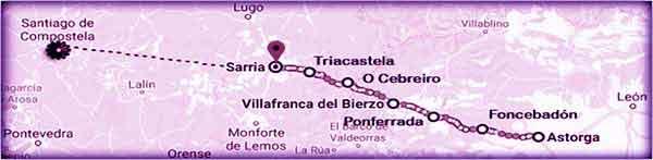 mappa Cammino Francese da Astorga a Sarria