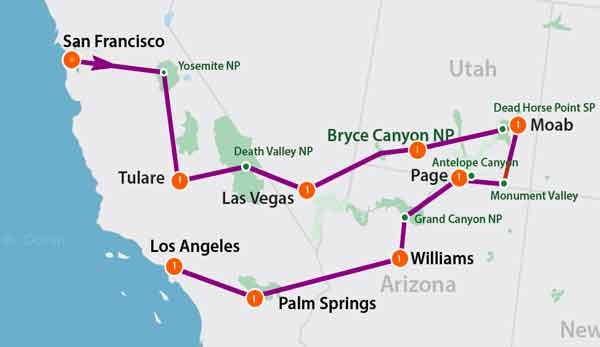 mappa tour parchi usa da San Francisco