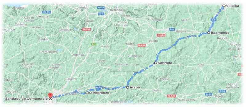 mappa cammino del nord - parte finale