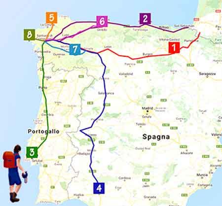 mappa cammini Santiago