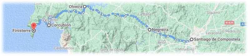 mappa cammino Finisterre