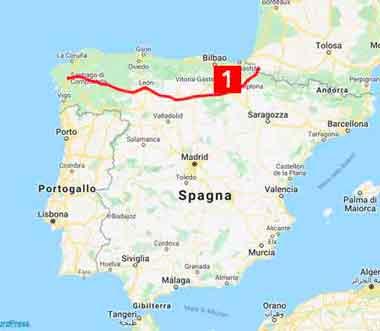 mappa cammino francese