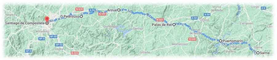 mappa cammino francese da Sarria a Santiago