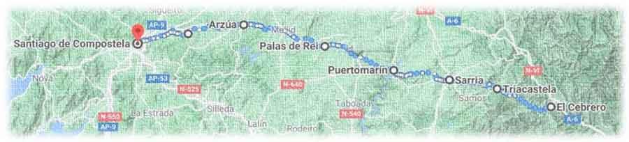 mappa cammino francese da O Cebreiro a Santiago