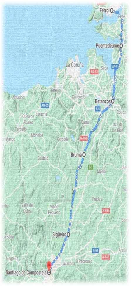 mappa cammino inglese - parte finale