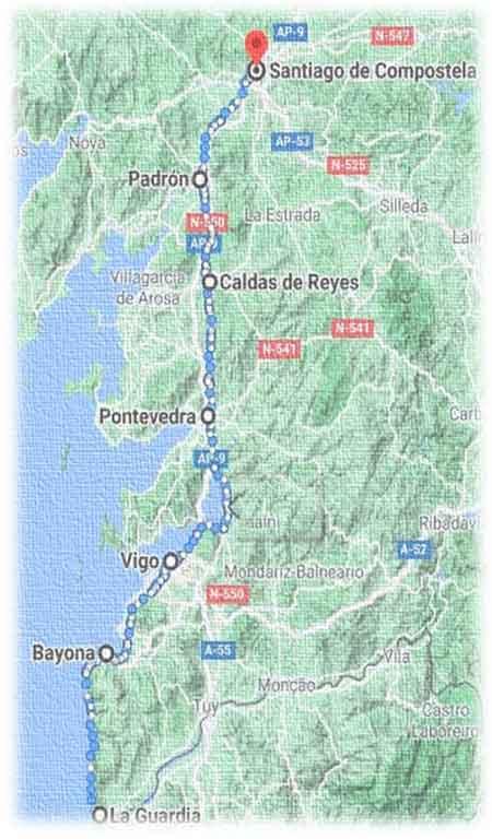 mappa cammino portoghese