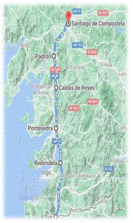 mappa cammino portoghese da tui