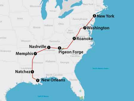 mappa tour American Music e Stati del Sud