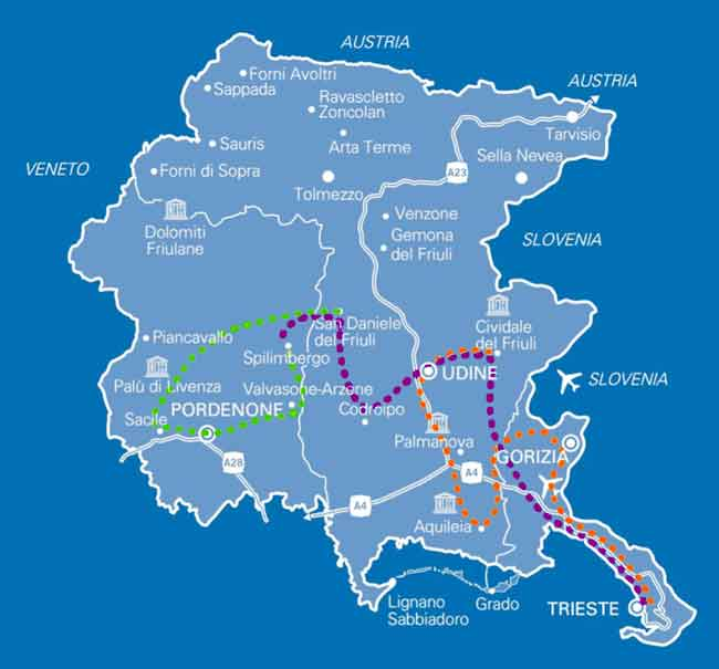 mappa tour Friuli Venezia Giulia